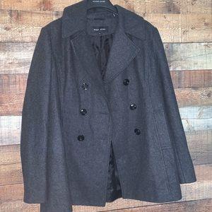 Black rivet charcoal gray pea coat, size XL